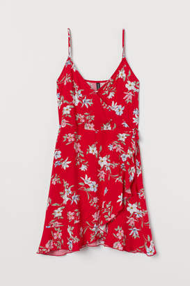 H&M Flounced Wrap Dress - Red
