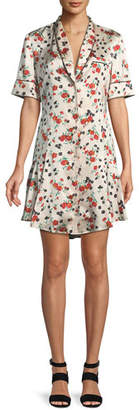 A.L.C. Ruthie Floral Stretch-Silk Button-Front Dress