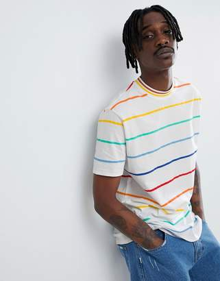 Asos DESIGN relaxed t-shirt in rainbow stripe