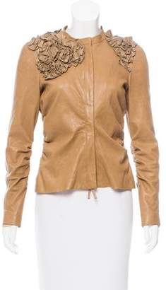 Valentino Leather Ruffle-Trimmed Jacket