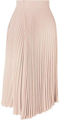 Vince Pleated Wrap-effect Crepe De Chine Midi Skirt - Beige