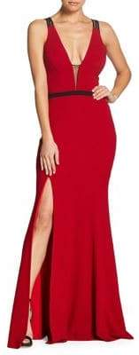 Dress the Population Summer Lana Belted Crepe Gown