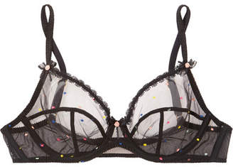 9b7d04c568 Agent Provocateur Poppie Lace-trimmed Embroidered Tulle Underwired Bra -  Black