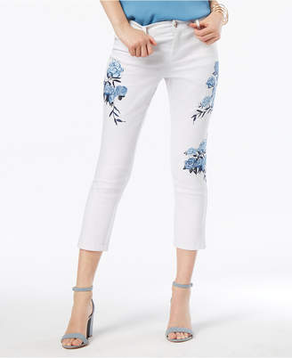 INC International Concepts I.n.c. Curvy-Fit Floral-Embroidered Cropped Jeans, Created for Macy's