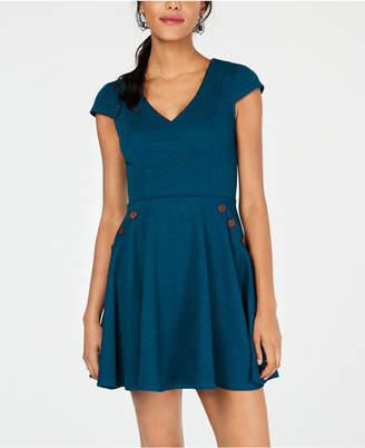 City Studios Juniors' Textured Sailor-Button Fit & Flare Dress