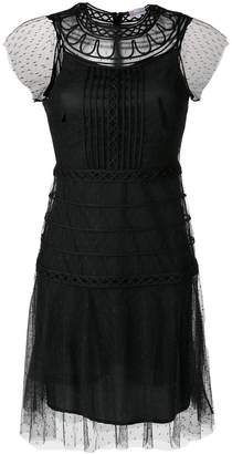 RED Valentino lace layered fitted dress