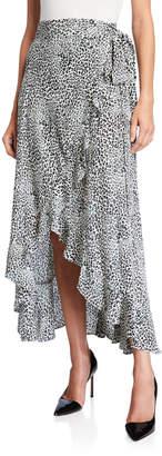 Nanette Lepore Nanette Leopard Print High-Low Wrap Skirt
