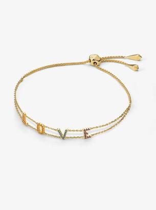Michael Kors 14K Gold-Plated Sterling Silver Rainbow Pave Love Slider Bracelet