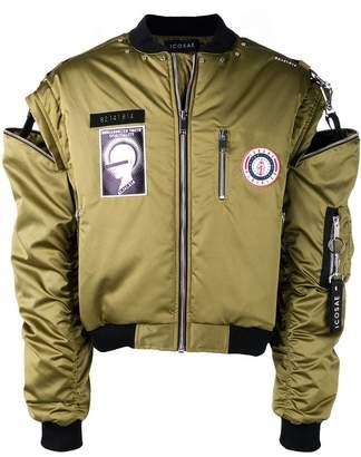 Icosae cold shoulder bomber jacket