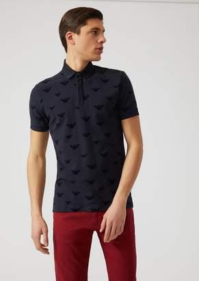 Emporio Armani Cotton Pique Polo Shirt With Flocked Logo Print