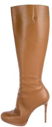 Christian Louboutin Leather Round-Toe Knee-High Boots