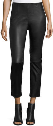 Alexander Wang Cropped Napa Leather Leggings, Black