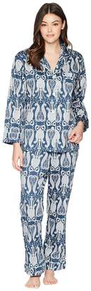 BedHead Navy Paisley Long Sleeve Long Pajamas Women's Pajama Sets
