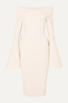 SOLACE London Ophira Off-the-shoulder Stretch-knit Midi Dress - White