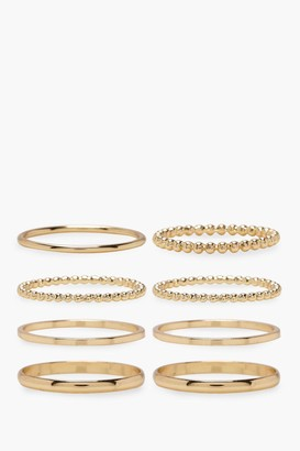 boohoo Plus Gold 8 Pack Basic Ring Set