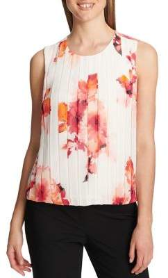 Calvin Klein Petite Floral Sleeveless Pleated Top