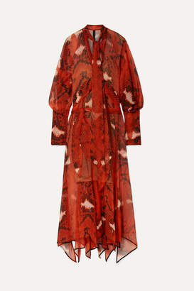 Petar Petrov Delmar Pussy-bow Snake-print Silk-chiffon Maxi Dress - Red