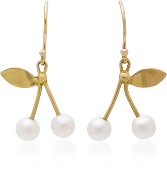 18K Gold Pearl Cherry Earrings