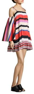 NICHOLAS N/Nicholas Amalfi Striped Cold-Shoulder Dress $395 thestylecure.com