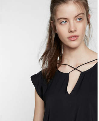 Express Solid Strappy Cross Front Tee $39.90 thestylecure.com