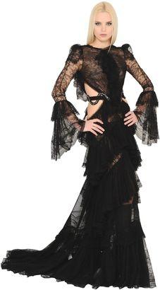 Cutout Frilled Silk Georgette Dress
