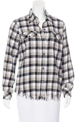 Current/Elliott Fringe-Trimmed Plaid Top