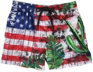 Fred Mello Usa Flag Printed Nylon Swim Shorts