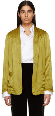 Raquel Allegra Gold Satin Shawl Blazer