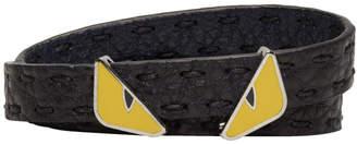 Fendi Black Bag Bugs Double Wrap Bracelet