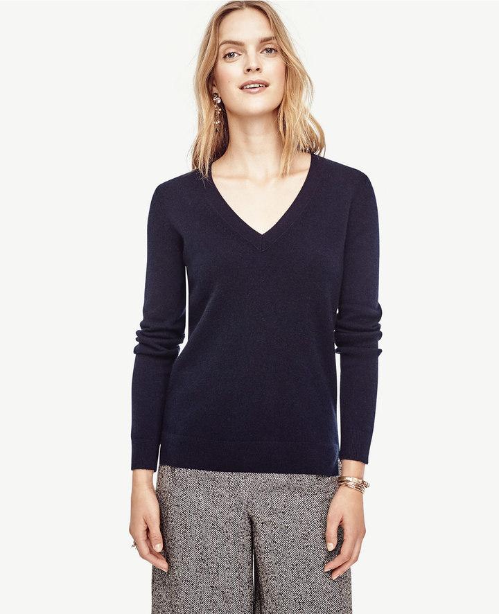 Ann TaylorPetite Cashmere V-Neck Sweater