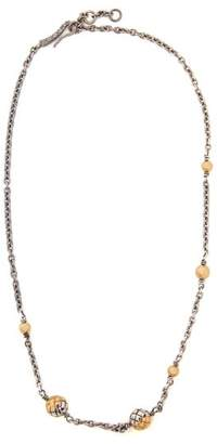Bottega Veneta Dichotomy Intrecciato Drop Necklace - Womens - Gold