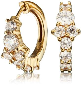 Lily & Roo - Small Gold Cluster Diamond Style Huggie Hoop Earrings