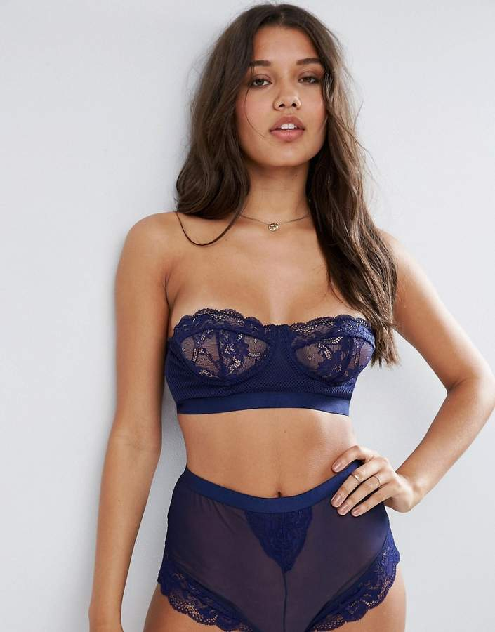 ASOS Cacey Fishnet & Lace Bustier Underwire Bra