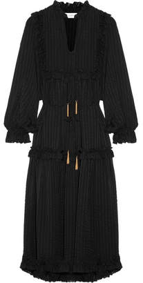 Zimmermann - Maples Ruffle-trimmed Striped Silk-jacquard Midi Dress - Black $995 thestylecure.com