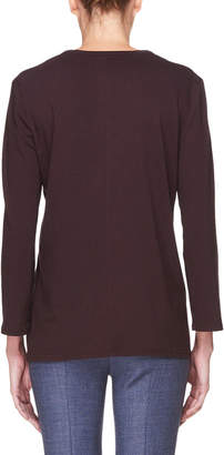 The Row Mave Crewneck Long-Sleeve Cotton Top