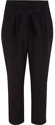River Island Girls black tie waist tapered pants