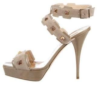 Oscar de la Renta Embellished Platform Sandals