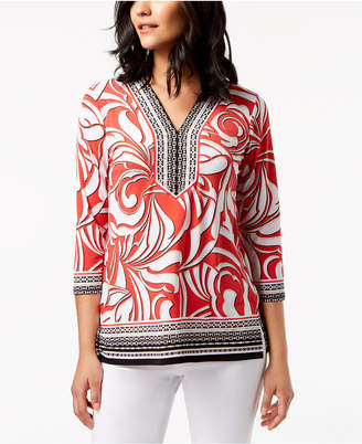 JM Collection Printed Rhinestone-Embellished Top, Created for Macy's