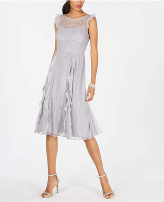 Adrianna Papell Lace Ruffled Dress