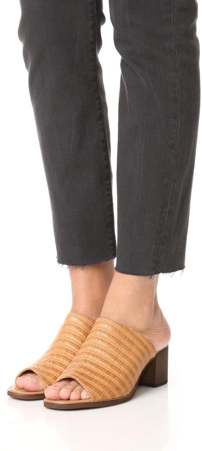 blank canvas Raffia City Mule Sandals 2