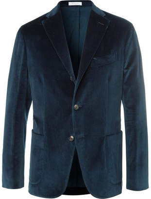 Boglioli Blue K-Jacket Stretch-Cotton Velvet Blazer