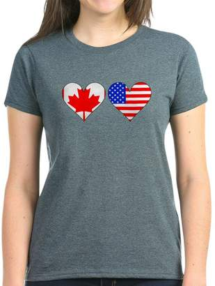 1d5c69ab9ad at Amazon Canada · CafePress - Canadian American Hearts T-Shirt - Womens  Cotton T-Shirt