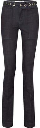 Victoria Beckham Victoria, Eyelet-embellished High-rise Bootcut Jeans - Dark denim