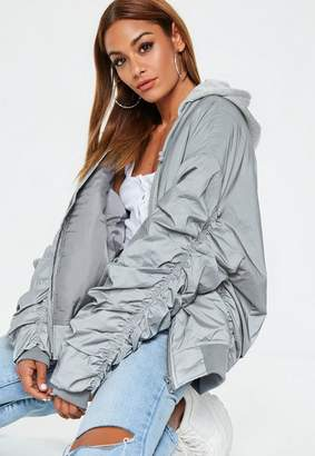 Missguided Silver Reflective Bomber Jacket