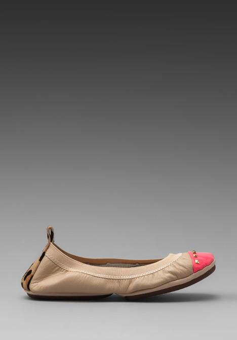 Yosi Samra Leather Flat in Neon Pink/Leopard