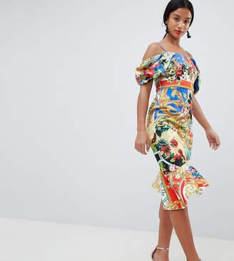 Asos DESIGN Petite scuba cold shoulder printed trophy square neck midi dress