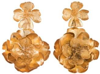 Josie Natori Gold Brass Double Peony Earrings