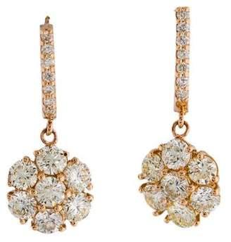 18K Diamond Cluster Drop Earrings