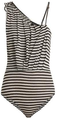 Pepper & Mayne - Clara Asymmetric Intarsia Knit Bodysuit - Womens - Black White