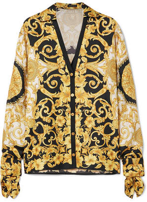 d3fb7514e09cf7 Versace Printed Silk-charmeuse Blouse - Yellow